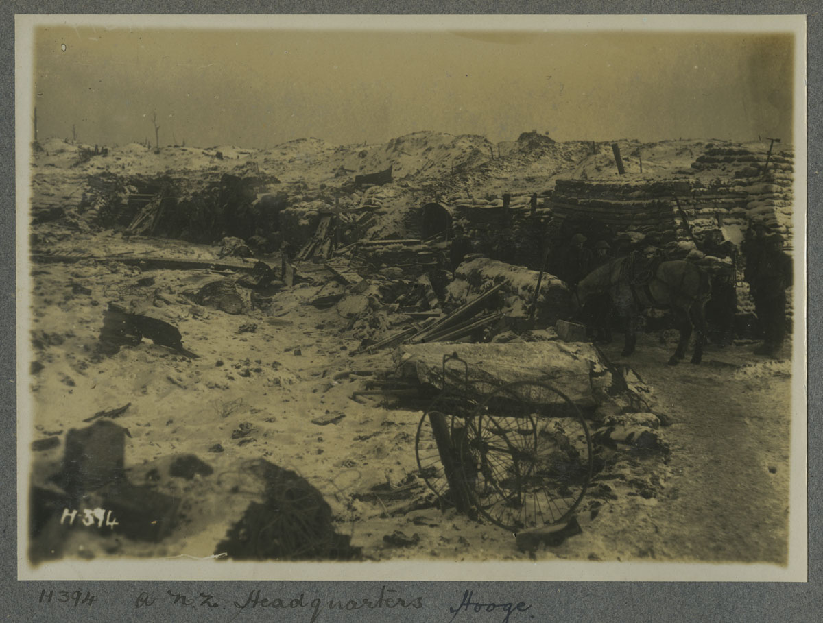 A New Zealand headquarters, Hooge Crater near Polygon Wood 1917.