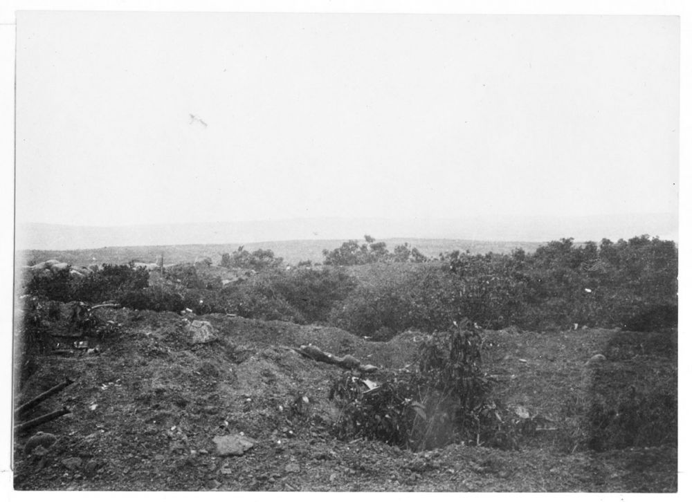 Looking across trenches at Hill 60 in 1915.