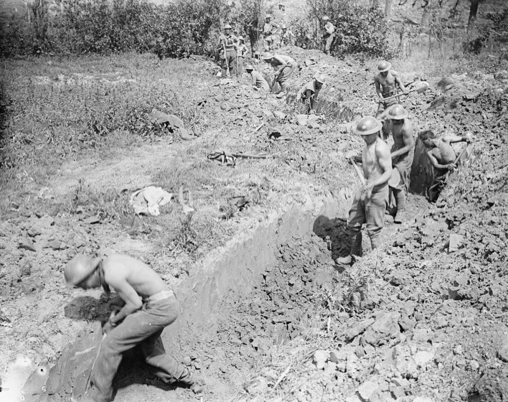 Royal Engineers dig a communication trench to join Messines Ridge, 7 June 1917.