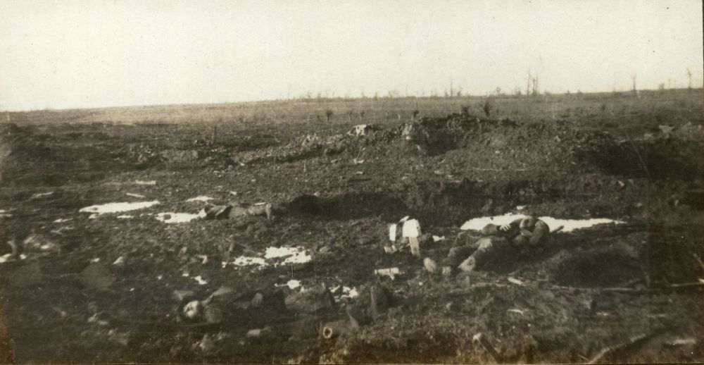 The reverse slope of the German position at Gravenstafel Ridge, Passchendaele, with German dead lying on the ground.
