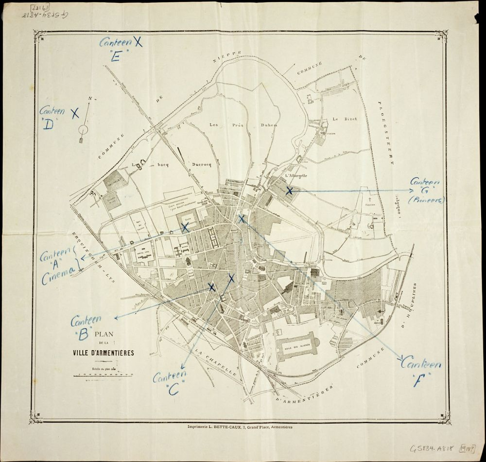 A map of the town of Armentières showing marked locations of canteens.