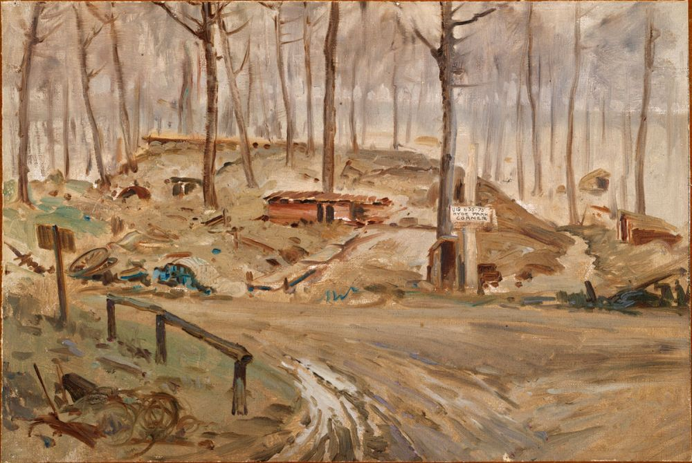 A painting by George Edmund Butler, Hyde Park Corner, 1918.