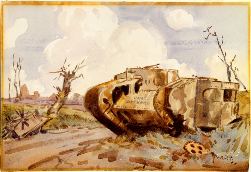 A painting by Nugent Welch. 'Tank' 1918.