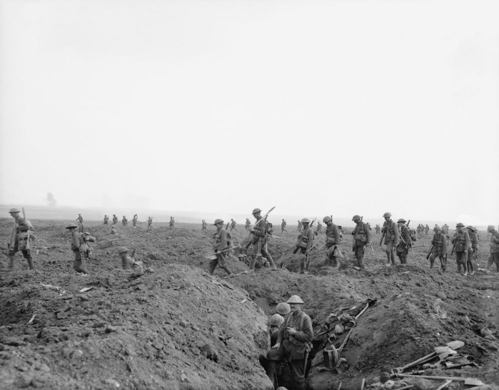 Reinforcements cross the old German front line during the Battle of Flers-Courcelette, 15 September 1916.