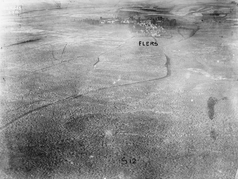 An aerial photograph of Flers. 6 September 1916.