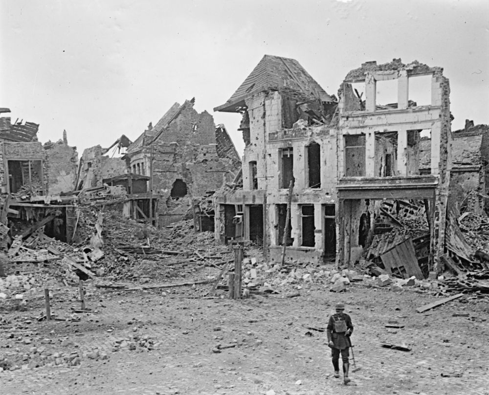 The ruins of the town of Bapaume the day after it was captured by the New Zealand Division. 30 August 1918.