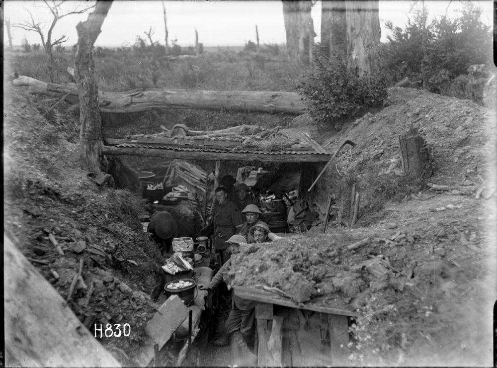A view of a trench temporarily housing the cookhouse of the New Zealand Rifle Brigade, near Gommecourt, France, 25 July 1918.