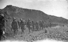 British soldiers at Anzac Cove marching along North Beach.