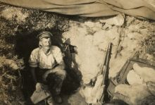 A photo of the Bivvy shared between 9/803 Corporal Curll Alexander Gordon Catto and 9/337 Trooper William Parlane (pictured), No 2 Outpost, Gallipoli.