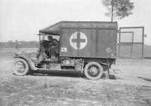 A New Zealand Division ambulance with shrapnel-proofing at a casualty clearing station near Albert. September 1916.