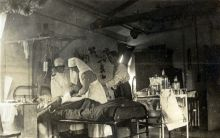 No.1 Ward decorated for Christmas, No.1 New Zealand General Hospital, Brockenhurst, England. 1917.