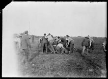 New Zealand soldiers playing a game of rugby at Fontaine, 12 October 1918.