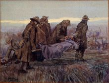 "This charcoal-wash picture entitled ""Stretcher Party"" by George Edmund Butler was displayed in 1952 Exhibition of Official War Paintings by New Zealand Artists."