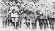 Commander Mustafa Kemal (Ataturk) is fourth from the left. He is standing with the officers and staff of his Anafarta group.