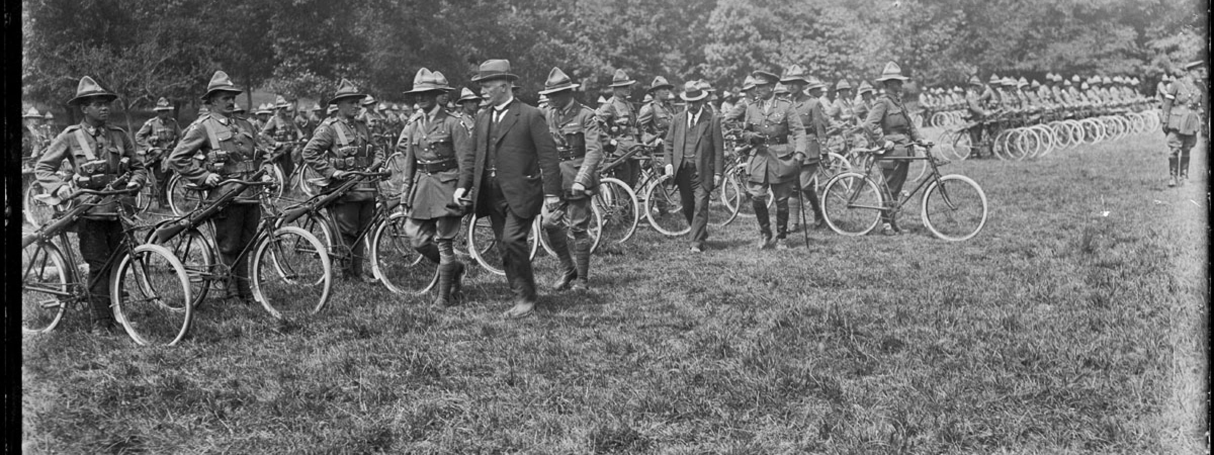 William Massey and Joseph Ward inspect the New Zealand Cyclist Battalion in France, 3 July 1917.